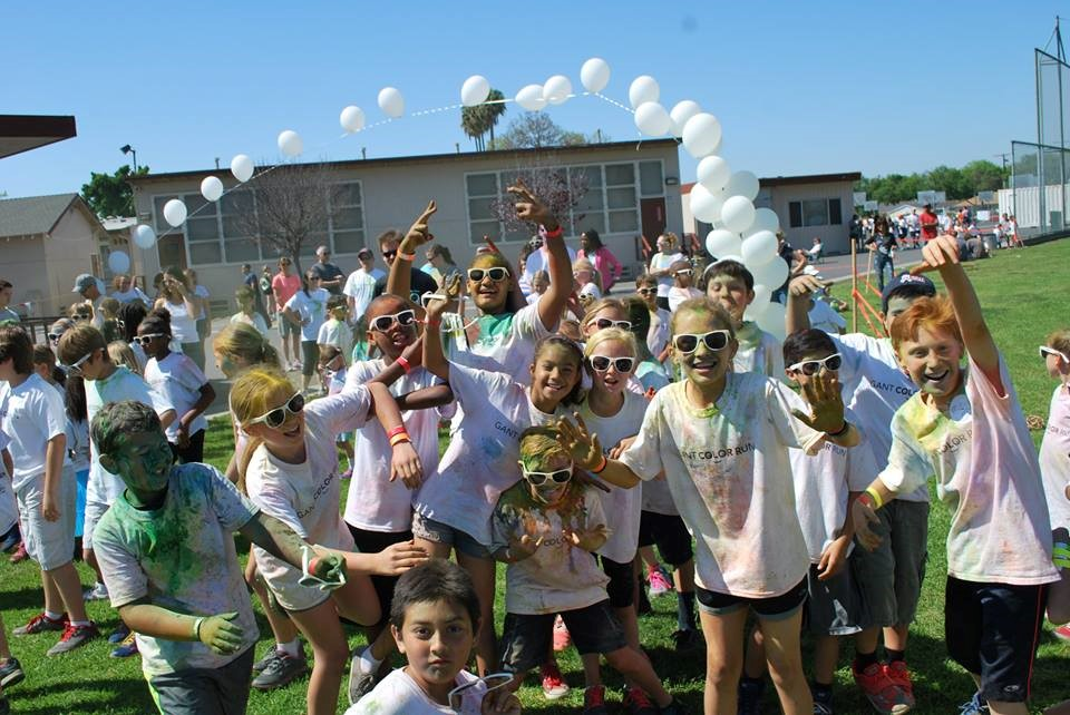student participants at Minnie Gant School color run