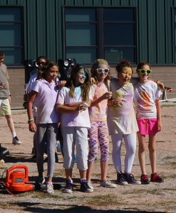 Fun run group picture with PurColour color powder (holi) grade school fundraiser.