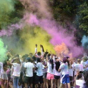 Sunny Brook High School PurColour color toss with celebration powder